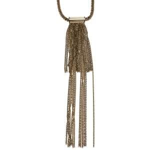 Lanvin Chain Link Gold Tone Long Tassel Statement Necklace