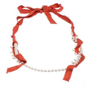 Lanvin Orange Fabric Faux Pearl Strand Long Tie-up Necklace
