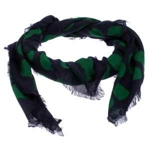 Lanvin Green Polka Dot Print Cashmere and Silk Scarf