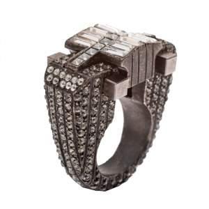 Lanvin Crystal Embellished Black Tone Cocktail Ring Size 54.5