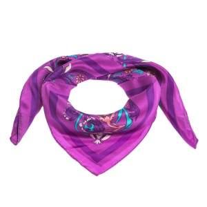 Lanvin Purple Floral Print Silk Square Scarf