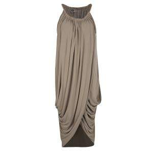 Lanvin Brown Gathered Draped Sleeveless Dress M