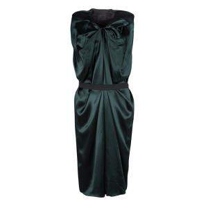 Lanvin Green Silk Draped Elastic Band Detail Sleeveless Dress M