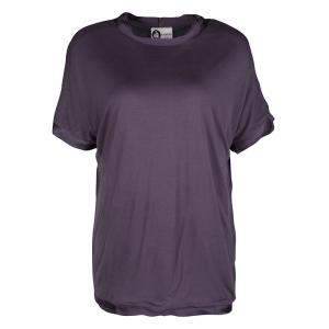 Lanvin Purple Frayed Satin Trim T-Shirt M