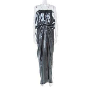 Lanvin  Metallic Draped Strapless Dress M