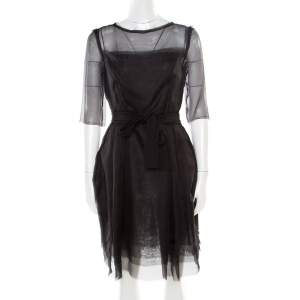 Lanvin Black Silk Organza Raw Edge Detail Sheer Yoke Layered Dress S