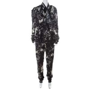 Lanvin Black & White Printed Neck Bow Detail Elastic Waist Jumpsuit L