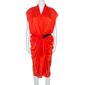 Lanvin Orange Silk Draped Front Belted Dress M
