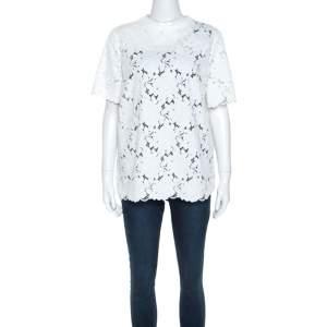 Lanvin White Guipure Lace Short Sleeve Top L