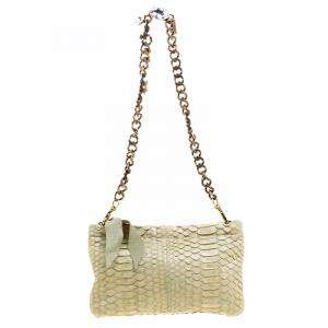 Lanvin Mint Green Python Embellish Crystal Chain Clutch