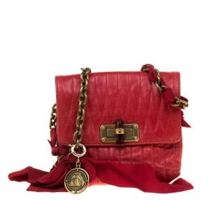 Lanvin Red Quilted Leather Mini Pop Crossbody Bag