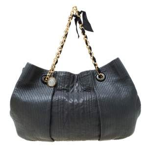Lanvin Dark Grey Leather Amalia Hobo