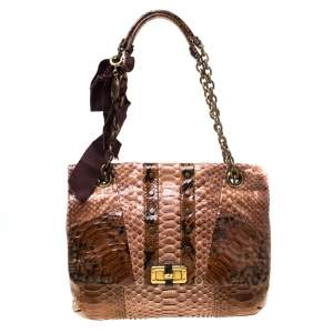Lanvin Brown Python Happy Shoulder Bag