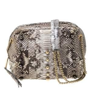 Lanvin Grey Python Sugar Studded Shoulder Bag
