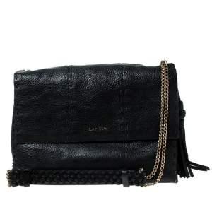 Lanvin Black Leather Sugar Stitch Shoulder Bag