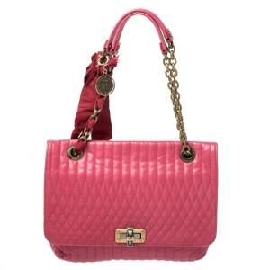 Lanvin Magenta Leather Happy Shoulder Bag