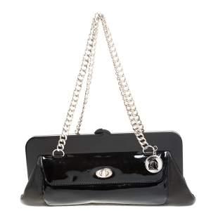 Lanvin Black Leather Lucite Frame Chain Shoulder Bag