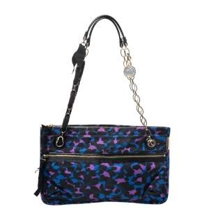 Lanvin Multicolor Printed Nylon and Patent Leather Shoulder Bag