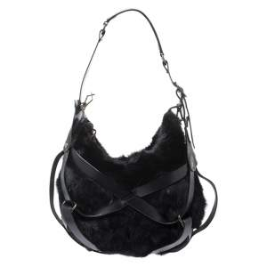 Lanvin Black Fox Fur and Leather Strappy Hobo
