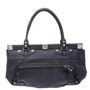 Lanvin Blue Leather Frame Satchel
