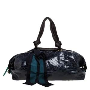 Lanvin Navy Blue Croc Embossed Leather Duffel Bag