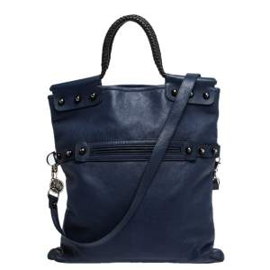 Lanvin Navy Blue Leather Foldover Tote