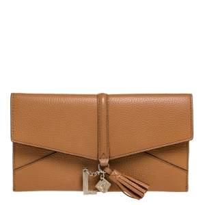 Lanvin Brown Leather Envelope Tassel Clutch