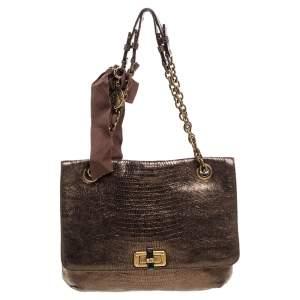 Lanvin Metallic Gold Lizard Embossed Leather Happy Shoulder Bag