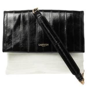 Lanvin Black/Cream Textured Leather Sugar Shoulder Bag
