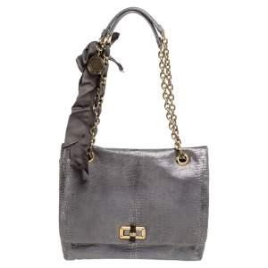Lanvin Metallic Silver Lizard Embossed Leather Happy Shoulder Bag