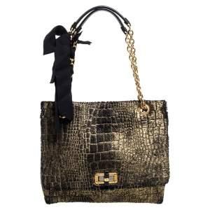 Lanvin Gold/Black Calfhair Medium Happy Shoulder Bag