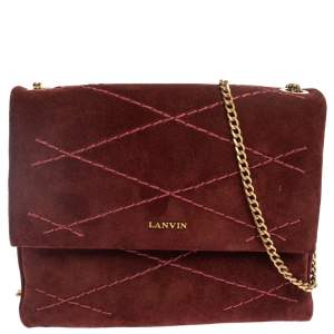 Lanvin Burgundy Suede Mini Sugar Shoulder Bag