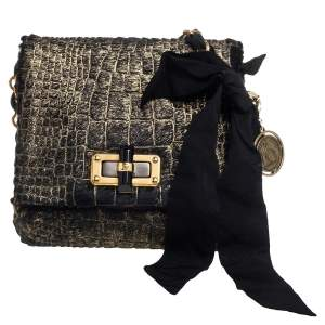 Lanvin Black/Gold Crocodile Print Calfhair Mini Happy Crossbody Bag