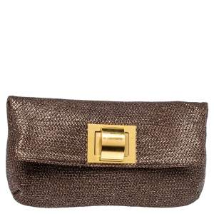 Lanvin Metallic Brown Lame Fabric Turnlock Fold Over Clutch