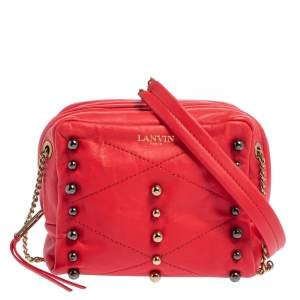 Lanvin Coral Red Leather Sugar Studded Shoulder Bag