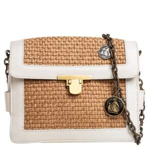 Lanvin White/Beige Raffia and Leather Trim Shoulder Bag