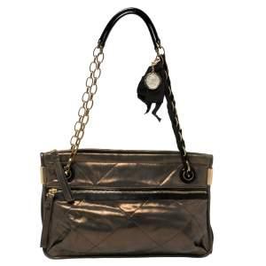 Lanvin Metallic Bronze Leather Chain Shoulder Bag