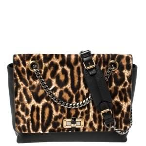 Lanvin Black/Brown Leopard Print Pony Hair and Leather Happy Shoulder Bag
