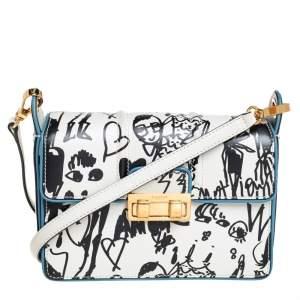 Lanvin White/Black Printed Leather Jiji Shoulder Bag