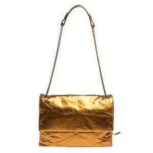 Lanvin Gold Leather Flap Shoulder Bag