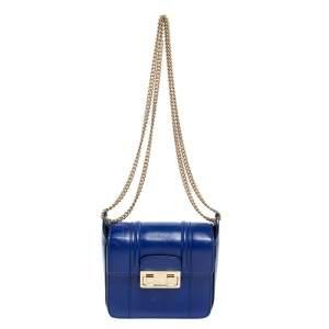 Lanvin Blue Leather Jiji Shoulder Bag