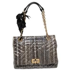 Lanvin Blue Python Happy Shoulder Bag