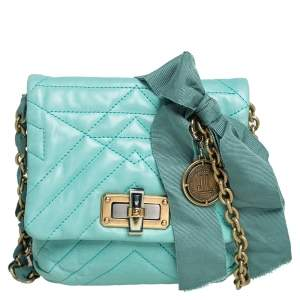 Lanvin Mint Green Quilted Leather Mini Happy Pop Crossbody Bag