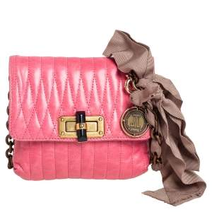 Lanvin Pink Quilted Leather Mini Happy Pop Crossbody Bag