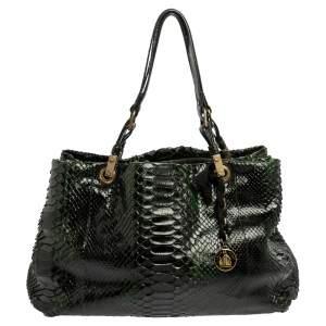 Lanvin Black/Green Python Shoulder Bag