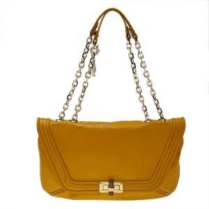 Lanvin Yellow Crinkled Leather Happy Flap Shoulder Bag