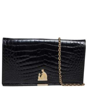 Lanvin Black Croc Embossed Leather Chain Clutch