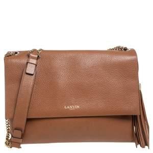 Lanvin Brown Leather Sugar Tassel Flap Shoulder Bag