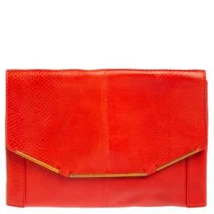 Lanvin Red Lizard Leather Miss Sartorial Wristlet Clutch