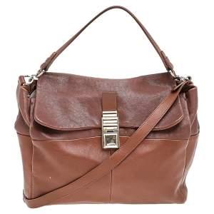 Lanvin Brown Leather Flap Shoulder Bag